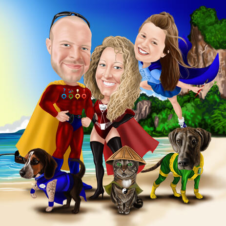 Flash of Superheroes - Custom Colored Full Body Persons with Pets Caricature from Photos - example