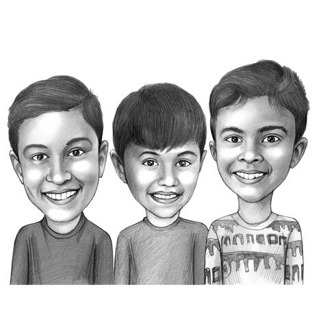 Head and Shoulders Kids Caricature Drawing in Black and White Pencil Style from Photos - example