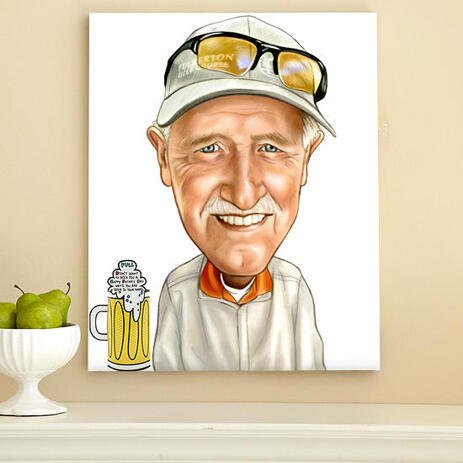 Man with Beer Caricature on Canvas - Father Gift Idea Hand Drawn in Funny Exaggerated Style - example