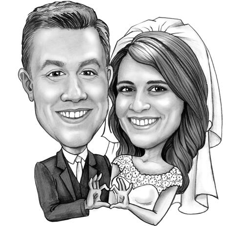 Wedding Couple Caricature Drawing in Black and White Pencils Style - example