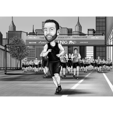 Jogging Person Gift - Custom Cartoon Portrait for Marathon Runner in Black and White Style - example