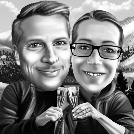 Black and White Couple Caricature from Photos with Custom Background - example