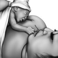 Anpassad mamma med nyfödd tecknad filmporträtt i svartvit stil från foto