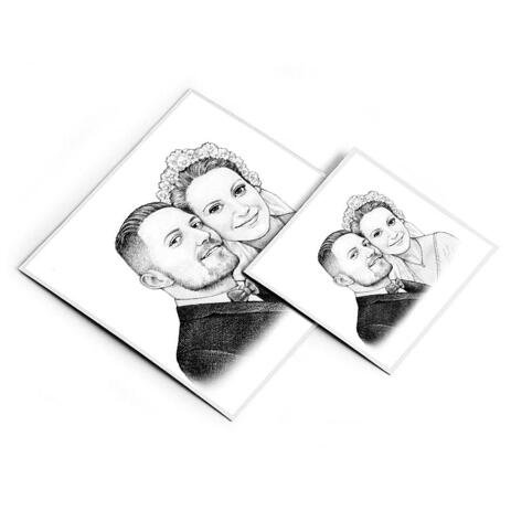 Pencils Portrait of Bride and Groom as Magnetes Print - example