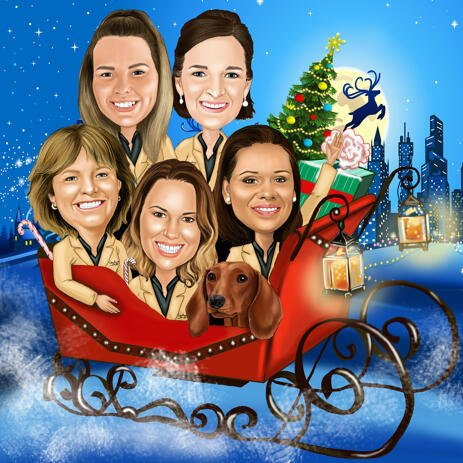 Christmas Group Caricature in Santa's Sleigh for Christmas Card - example