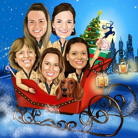 Caricatura del gruppo di Natale nella slitta di Babbo Natale per la cartolina di Natale - example