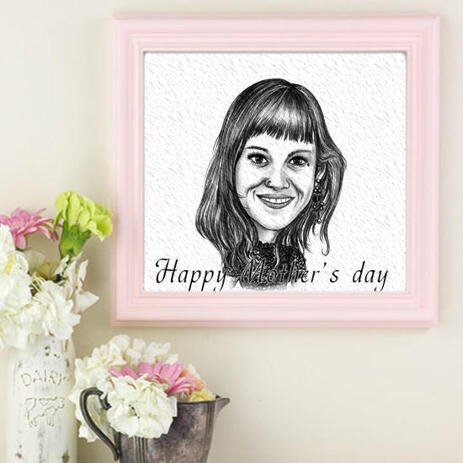 Mother's Day Custom Cartoon Print: Monochrome Cartoon Drawing from Photo - example