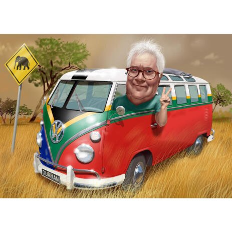 Custom Bus Driver Caricature Gift with Background from Photos in Color - example