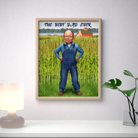 Photo Print: Custom Caricature Drawing of Man for Father's Day Gift - example