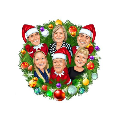 Corporate Christmas Wreath Digital Caricature Cards Gift from Photos - example