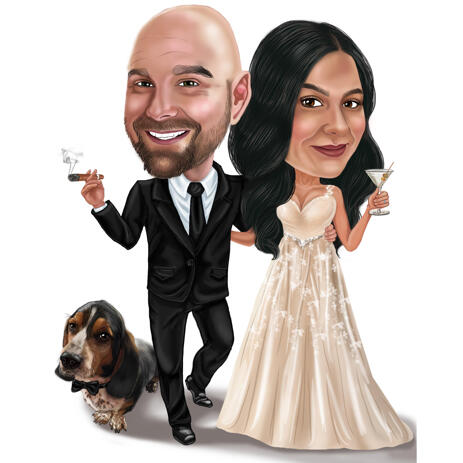 Wedding Couple with Dog Caricature Custom Personalized Cute Gift - example