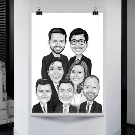 Group Caricature Poster in Black and White Style - example