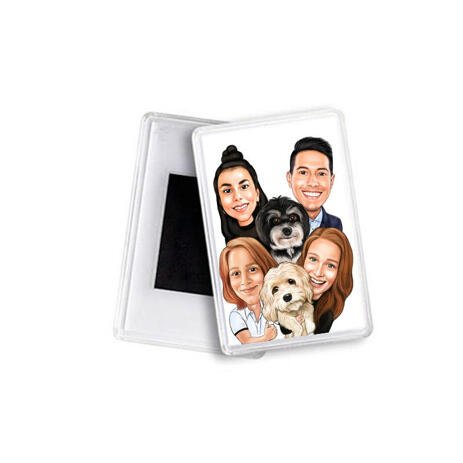 Family with Pets Caricature as Magnets - example