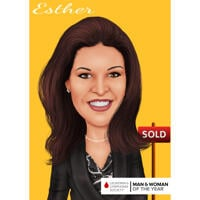 Head and Shoulders Realtor Caricature from Photo with Colored background