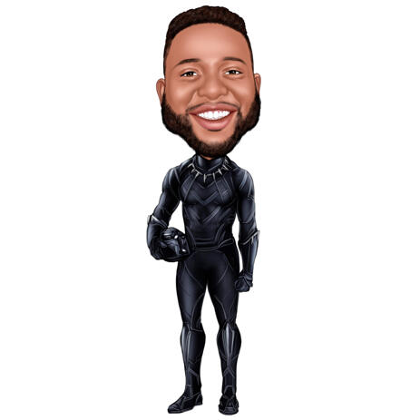 Colored Full Body Caricature from Photos for Black Panther Fans - example