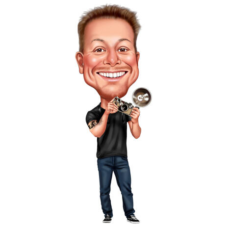 Male Photographer with Camera in Hand Caricature from Photo in Full Body Colored Style - example