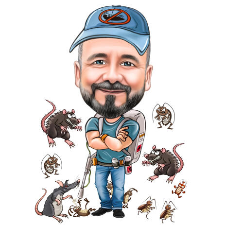 Person with Rat Killing Device Cartoon Caricature for Custom Logo Avatar - example