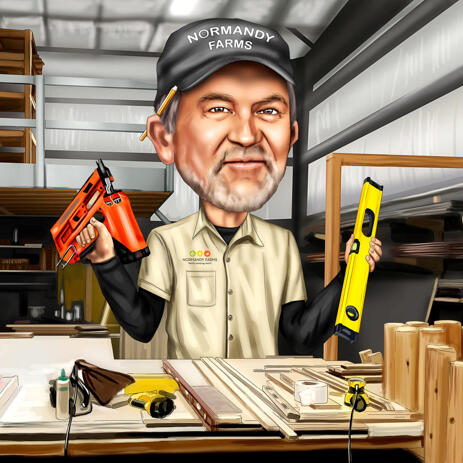 Handyman Caricature from Photos with Custom Background and Tools - example
