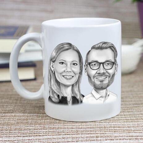 Business Partners Caricature on Cofee Mug - example