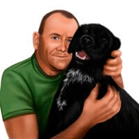 Owner with Dog Portrait in Colored Style Hand Drawn from Photos