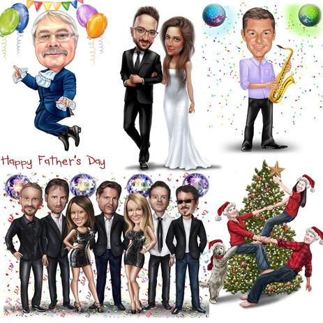 Any Holiday Full Body Caricature in Colored Style - example