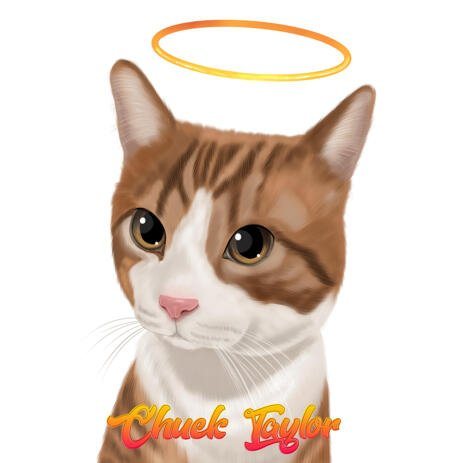 Custom Colored Digital Style Cat Memorial Caricature Drawing from Photos - example