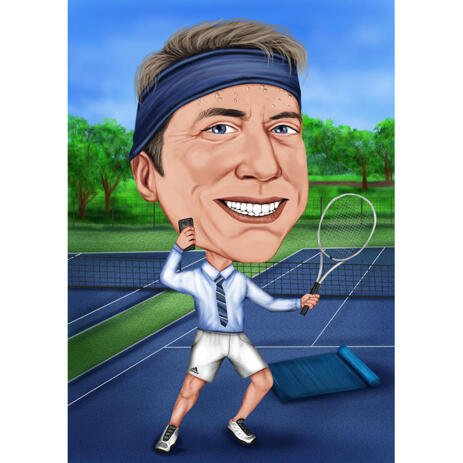 Custom Tennis Caricature from Photos with Tennis Court Background - example