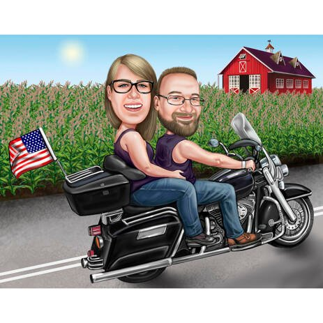Couple Caricature on Harley-Davidson Motorcycle with Background - example
