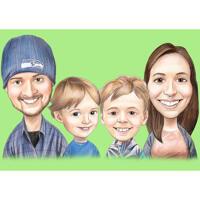 Overdreven karikatuurstijl familieportret in kleurpotloden met eenvoudige achtergrond