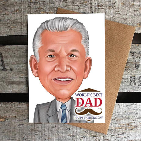 Best Dad Caricature in Color Style Personalized Father's Day Poster Gift - example