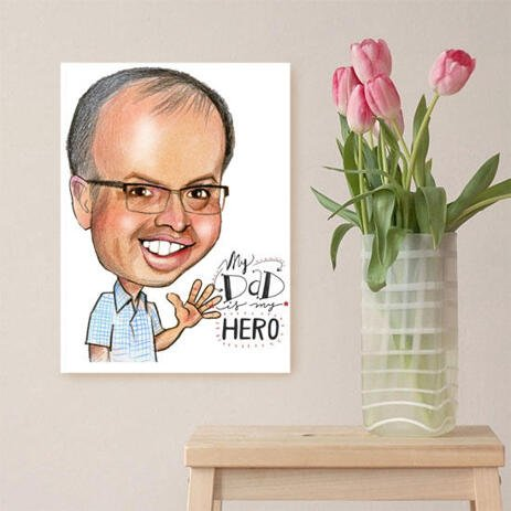 Canvas Print: Pencils Caricature Drawing for Father's Day Gift - example