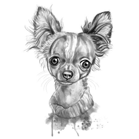 Cute Charcoal Gray Chihuahua Portrait in Watercolor Style from Photos - example