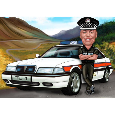 Police Officer Caricature from Photos with Police Car and Background - example