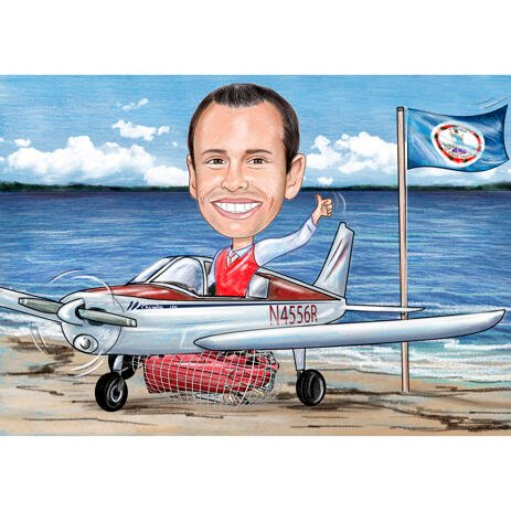 Head and Shoulders Pilot Caricature with Plane and Background - example