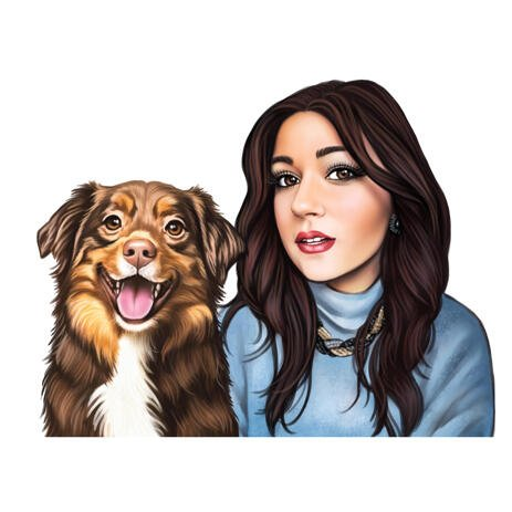 One Person and Pet Portrait Caricature from Photos in Colored Style - example