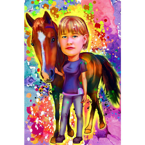 Horse Rider Caricature Portrait in Watercolor Style with Colored Background - example