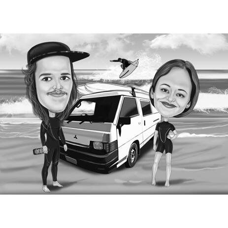 Two Persons with Vehicle Background Hand-Drawn from Photos - example