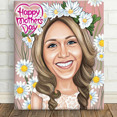 Print on Canvas: Cartoon Drawing for Mother's Day Gift - example