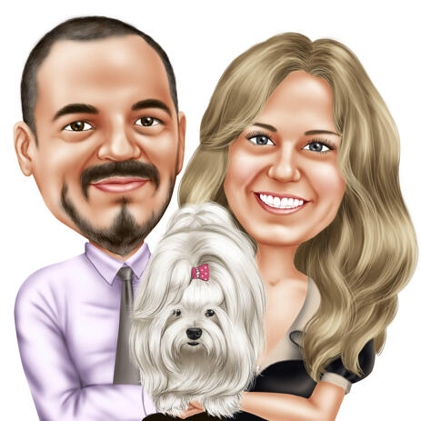 Couple with Pet Caricature Portrait from Photos - example