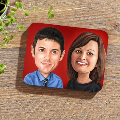 Corporate Caricature on Photo coasters - example