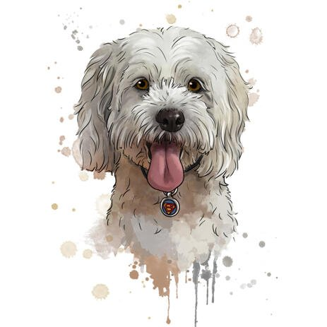Watercolor Bichon Toy Dog Portrait from Photos in Natural Coloring - example