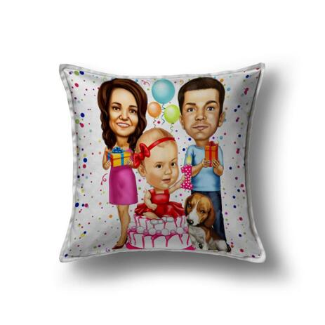 Birthday Family Caricature Printed on Pillow - example