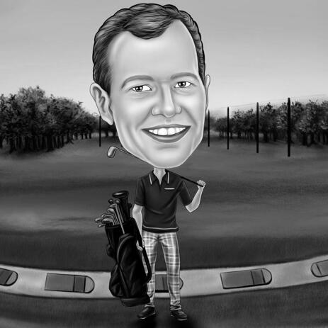 Black and White Golf Portrait from Photos with Background - example