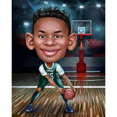 High Exaggerated Basketball Caricature from Photos - example