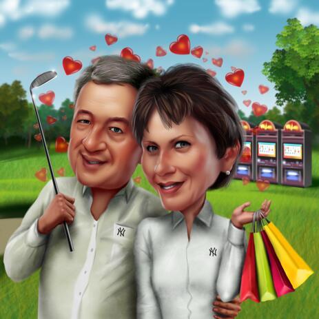 Карикатура пары занимающихся своим любимым хобби нарисованная с фото с цветным фоном - example