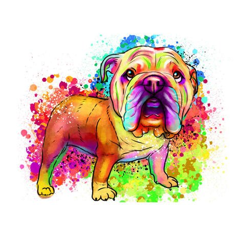 Full Body Watercolor Bulldog Portrait from Photos - example