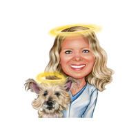 Portrait commémoratif du propriétaire avec portrait d'animal de compagnie en style couleur à partir de la photo