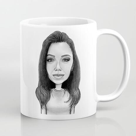 Durable Ceramic Mug: Custom-made Cartoon in Black and White Digital Style - example