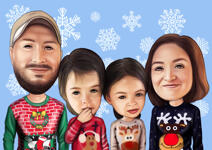 Family Christmas Caricature example 2