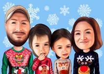 Family Christmas Karikatuur example 2